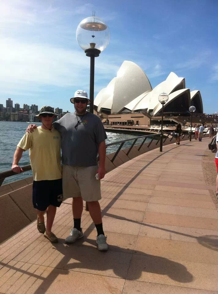 Owen (left) and Harry enjoying their time in Sydney (Photo: The Plott Galleries)