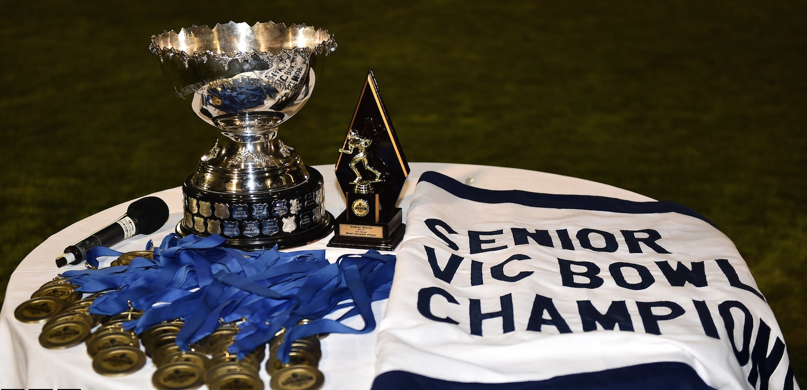 Vic Bowl, Medallions and Penant awaiting their Champions (Photo courtesy of barendphotos.com)