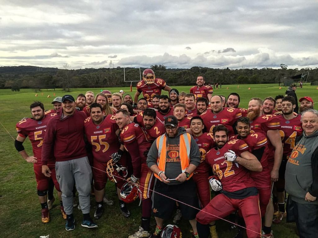 Adam Gotsis with his old Warriors Gridiron teammates (Photo Courtesy of Adam Gotsis)
